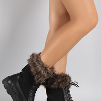 Faux Fur Lace Up Winter Snow Boots