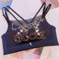 GUCCI Hot Sale Women Fashion Leopard Letter Pattern Sexy Luxury Shiny Diamond Bra