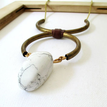 Statement Necklace. White Howlite Stone & Vintage Brass.
