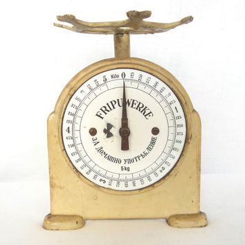 Antique German kitchen balance scale Porcelain enamel scale FRIPUWERKE