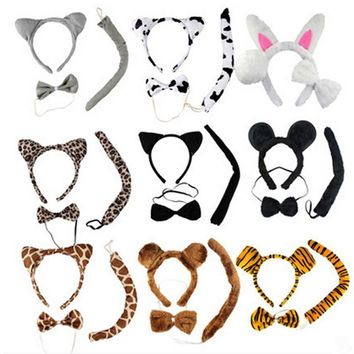 Halloween Kids Animal Cat Fox Ears and Tail Bowtie Costume Mouse Cat Ears Head Band Hair Hoop Headband Dress Cos Cosplay Party