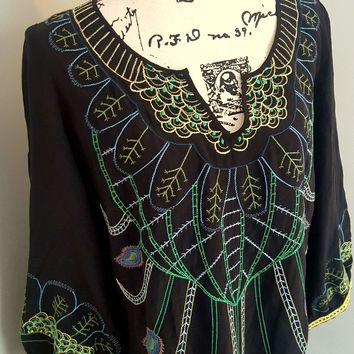 Women's Kenar Silk Embroidered Tunic Vintage Inspired