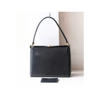 GUCCI Leather Tote handbag Dark Navy authentic vintage purse