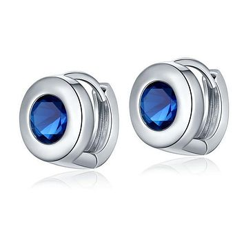 Polished Police Awareness Round Stud Earrings