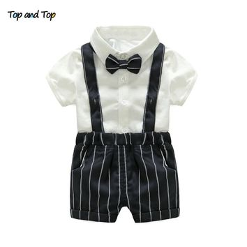 Top and Top Summer Toddler Baby Boys Clothing Sets Gentleman Clothes Suits Short Sleeve Shirt +Suspenders Short Kids Formal Set