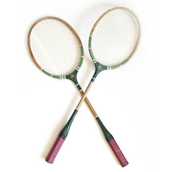 Vintage Badminton Rackets, Green Red Wood Racquet Set, Sports Man Cave Wall Decor