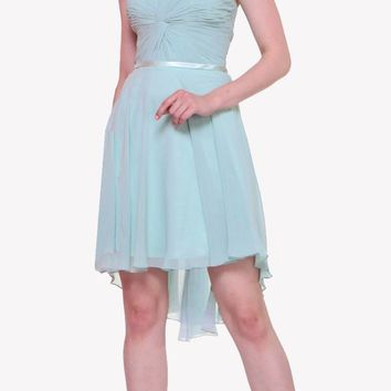 Short Twisted Bodice Chiffon Sky Blue Bridesmaid Dress Strapless