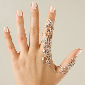 Vintage Flower Jewelry Stainless Steel Golden Chain Two Finger Ring for Women Link Double Ring Alloy Foliage Wedding Love Anillo