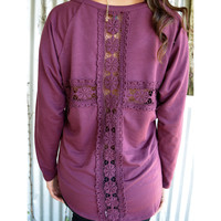 Eternal City Crochet Cross Burgundy Top