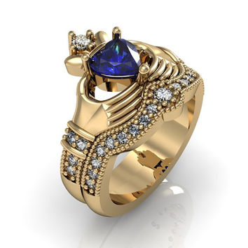 Claddagh Ring - 10K Solid Yellow Gold Created Blue Spphire Sterling Silver Love and Friendship Engagement Ring Set