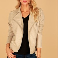 Zippered Vegan Leather Jacket Cream