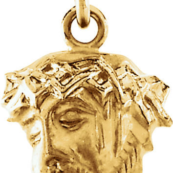 14k Yellow Gold Head of Jesus W/ Crown of Thorns Charm Pendant - 13mm