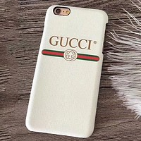 GUCCI couple classic letter stripes iPhone XS Max mobile phone shell leather hard shell white