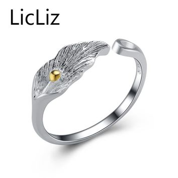 LicLiz 925 Sterling Silver Cuff Ring with Rhodium Plated Brushed Finish Trendy Jewelry For Girls Women Date Travel LR0165