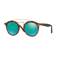 Ray-Ban Round Mirrored Brow-Bar Sunglasses, Brown/Green