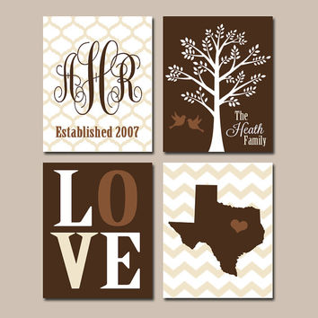 Family Tree Wall Art CANVAS or Prints Brown Personalized Monogram State LOVE Bird Tree Established Date Set of 4 Wedding Gift Home Decor
