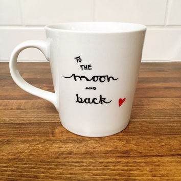 to the moon and back coffee mug // personalized mug // ceramic mug // quote mug // love mug // gift for boyfriend
