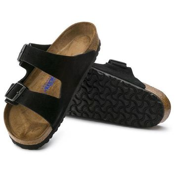 Sale Birkenstock Arizona Soft Footbed Suede Leather Black 0951321/0951323 Sandals
