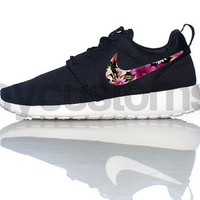 Nike Roshe Run Black White Floral Bouquet Print Swoosh V3 Edition Custom Womens
