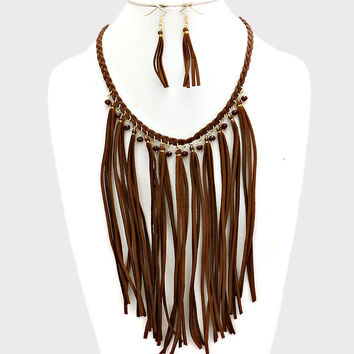 "18"" brown red bead tassel fringe faux suede bib collar choker Necklace 2"" earrings"