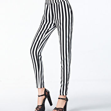 Striped Pants Womens Chiffon Pants 2016 Spring & Summer New Fashion Elastic Waist Free Shipping