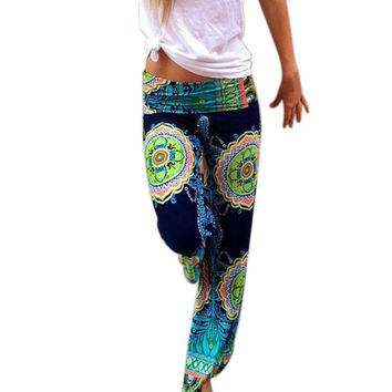 Pantalones Mujer Pants Women Boho Pants Boho Print Vintage Loose Straight-Leg Long Wide Leg Pants Trousers Women