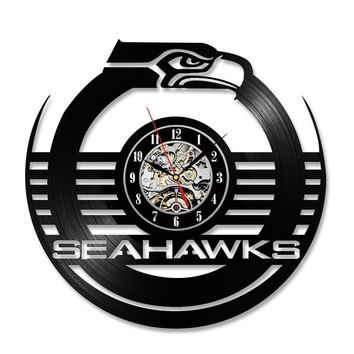Antique Hollow Style Round CD Record Clock NFL SEATTLE SEAHAWKS Shape Creative Wall Art Hanging Clock Room Decor Clock
