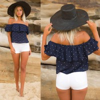 Off Shoulder Short Sleeves Polka Point Crop Top