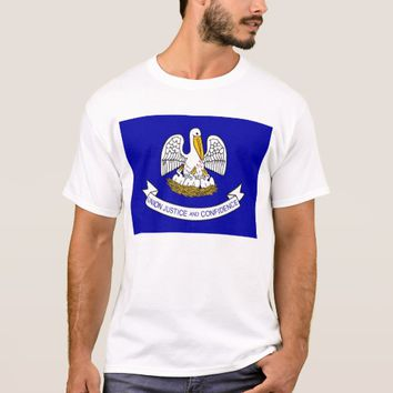 T Shirt with Flag of Louisiana State USA