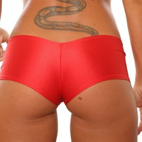 Red Basic Cheeky Booty Shorts Stripper Clothes