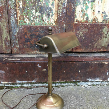 Antique Brass Lamp, Bankers Lamp, Industrial Lamp, Vintage Industrial Brass Lamp, Industrial Vintage, Minimalist Lamp,