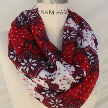 Red Infinity Scarf Nordic Christmas Gift Ideas Reindeer Scarf  Trending Items Teacher Gifts Women   - By PIYOYO