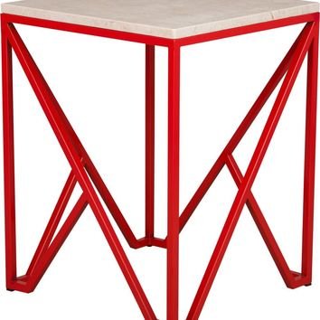 Large Kory End Table Powdercoated Red With A White Granite Top