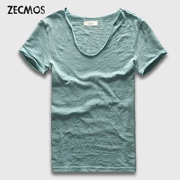 Zecmos Basic Short Sleeve Cotton T-Shirt Men Plain Slim Fitted Blank V Neck T Shirts Top Tees Shirts Male Gift Swag Fashion