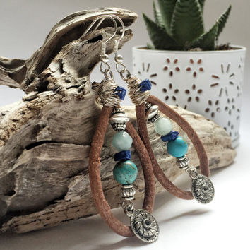 Boho style, natural stone beaded turquoise earrings with brown leather chord and metal charm,bohemian earrings, natural earrings