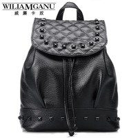 WILIAMGANU Leather Women Backpack fashionable shoulder school bags for teenage girls Female Travel Back Pack Plaid rivets Bag