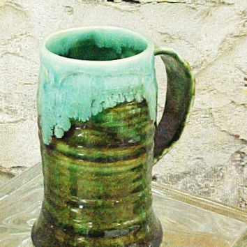 Carved Leaf Wheel Thrown Pottery Mug by waukeshapottery on Etsy
