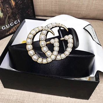 GUCCI Pearl Waistband Woman Fashion Smooth Buckle Belt Leather Belt black