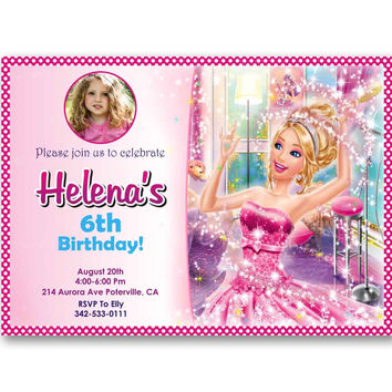 Barbie Princess and Popstar Pink Girl Polka Dot Kids Birthday Invitation Party Design