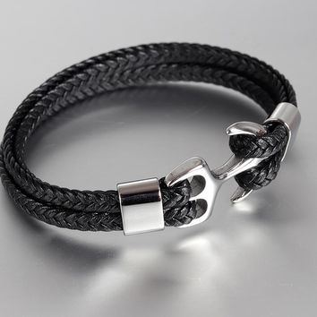 Classic Stainless Steel Anchor Bracelets Genuine Leather Bracelet & Bangles for Men Jewelry Brown/Black Color Fashion Gift