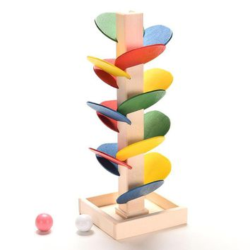 Wooden Toys Colorful Tree Marble Ball Run Track Game for Baby Montessori Blocks Model Building Wood Toys for Children