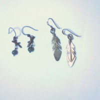Vintage Sterling Silver Earrings - Lot of 2 Pairs - Feathers are signed
