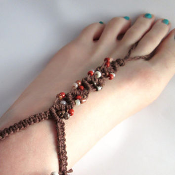 Hemp Anklet Barefoot Sandals Foot Jewelry Hippie Sandals Brown Beaded Hemp Jewelry