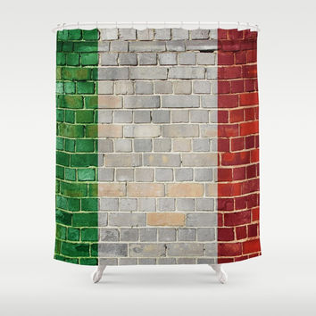 Italy flag on a brick wall Art Print by Steve Ball