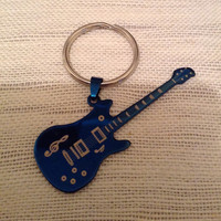Guitar keyring, blue stainless steel guitar keyring, Valentine's Day, gifts for him, Father's Day