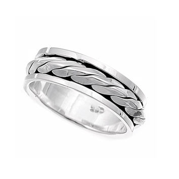 925 Sterling Silver Braided Row Spinner 7MM Ring