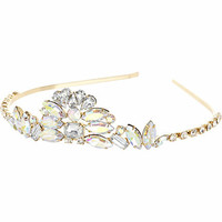 Girls gold tone diamante tiara