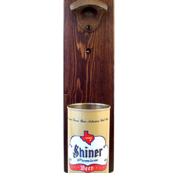 Wall Mounted Bottle Opener Featuring A Vintage Texas Shiner Beer Can Cap Catcher - Father's Day, Groomsman, Or Guy Gift