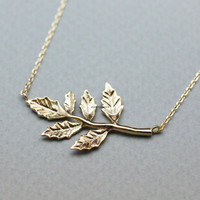 Sideways branch Leaves pendant necklace in 2 colors, N0791G