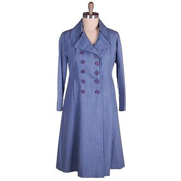 Vintage Blue Chambray Trench Coat Bright Red Lining 1970s 38-36-44